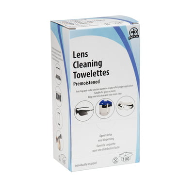 Anti-Fog/ Anti- Static Lens Cleaning Towelettes, 100/box