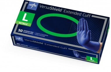 "VERSASHIELD NITRILE POWDER-FREE EXAM GLOVE X-PROTECTION CHEMO-TESTED 12"" EXTENDED CUFF, LARGE BOX/50 - 320-VS711L"