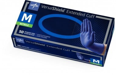 "VERSASHIELD NITRILE POWDER-FREE EXAM GLOVE X-PROTECTION CHEMO-TESTED 12"" EXTENDED CUFF, MEDIUM BOX/50 - 320-VS711M"