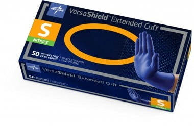 "VERSASHIELD NITRILE POWDER-FREE EXAM GLOVE X-PROTECTION CHEMO-TESTED 12"" EXTENDED CUFF, SMALL BOX/50 - 320-VS711S"