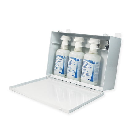 Metal Cabinet c/w 3 1L Eyewash Bottles with Eye Cup