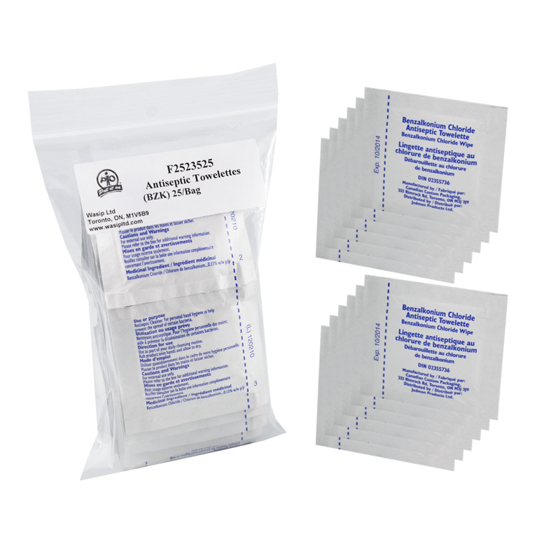 BZK Antiseptic Towelettes, 25/Bag