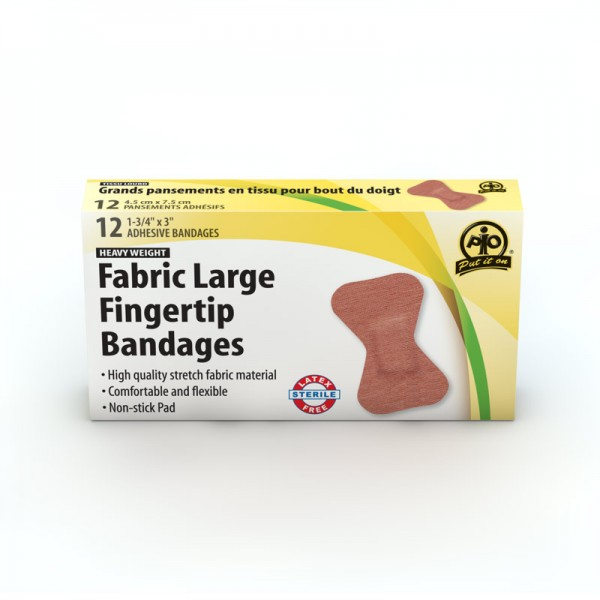 Fabric Fingertip Bandages, 5 x 4.5cm, 12/box
