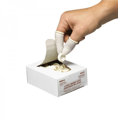 Disposable Latex Finger Cots, Large, 144/Box
